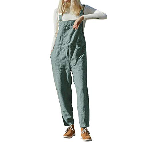 Jumpsuit Damen Elegant Lang Baumwolle and Leinen Sommer Overall Sexy Ouvert Hose Latzhose Retro Lange Hosen Overalls Einfarbiger Hosenanzug (M,...