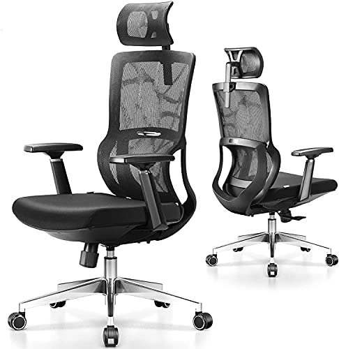 MFAVOUR - Silla de oficina de gran tamaño - Silla de oficina ergonómica - Asiento de gran comodidad con reposabrazos 3D - Respaldo cómodo de diseño S para 158 - 180 cm