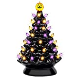 yofit Halloween Decorations 9 Inch Ceramic Tree, Pre-Lit Pumpkin Tabletop with Purple Orange Lights for Kitchen Home Holiday Party Office
