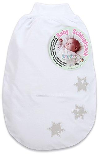 babybay Schlupfsack Organic Cotton mit Gurtschlitz, weiß Applikation kleine Sterne perlgrau Sterne weiß