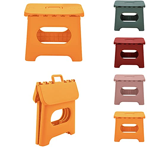 QILESUNNY 2021 Upgrade 10 inch Folding Step Stool , Folding Step Stool with Handle,Portable Collapsible Small Plastic Foot Stool for Adults,Kitchen Garden Bathroom Step Stools (Orange)