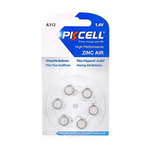 6 Pcs A312 P312 Size 312 1.4V Zinic Air Hearing Aid Battery