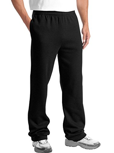 KNOCKER Men's Classic Heavy Duty Fleece Sweatpants Black L
