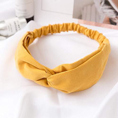 ASP FrauenStirnbandKreuzknotenElastischeHaarbänder Mädchen Haarband Haarschmuck, gelb