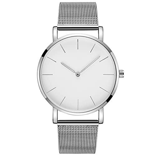 WTYU Reloj de Correa de Malla de Acero Inoxidable Ultrafino Simple, Reloj de Cuarzo Elegante, Reloj de Deportes Redondos y Relojes de Negocios D
