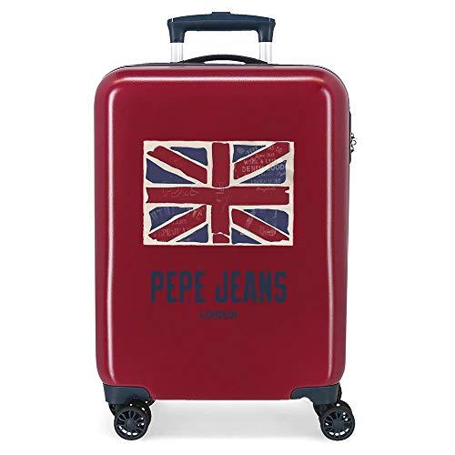 Pepe Jeans Andy Maleta de Cabina Rojo 38x55x20 cms Rígida ABS Cierre combinación 34L 2,6Kgs 4 Ruedas Dobles Equipaje de Mano