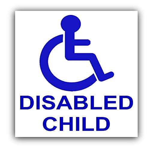 Platina plaats gehandicapte kinderauto Sticker-blauw op wit-handicap rolstoel - mobiliteitswagen, bestelwagen, taxi, mini-cabine, coach zelfklevend teken