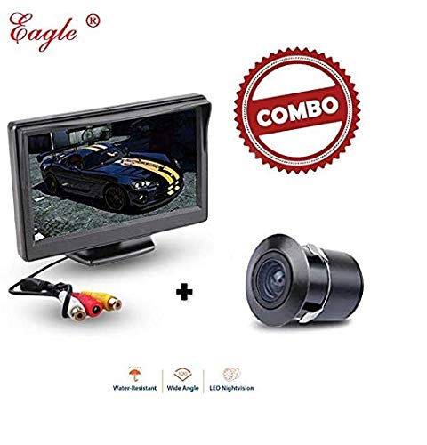 Eagle Car Screen Camera 4.3 Dashboard Screen Rear View Kit and TFT LCD Monitor with Car Reversing Camera Fits All Hatchback/Sedan/SUV