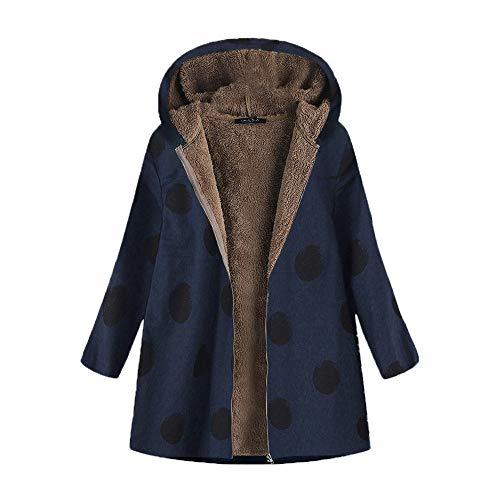 iHENGH Damen Winter Jacke Dicker Warm Bequem Slim Parka Mantel Lässig Mode Frauen Outwear Katze Print Kapuzen Taschen Vintage übergroßen Coat(Marine, 5XL)