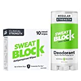 Sweatblock Excessive Sweat and Odor bundle [Clinical Strength Antiperspirant Sweat Wipes and Regular...