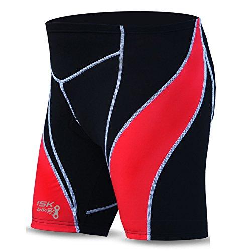 Brisk Fietsen Shorts voor Mannen Zwart met hoge kwaliteit Gecapitonneerde Liner compressie panty's (Zwart/Rood, X-Large)