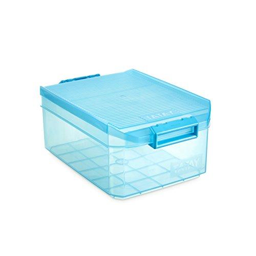 TATAY 1150219 - Caja de Almacenamiento Multiusos con Tapa, 4.5l de Capacidad, Plástico Polipropileno Libre de BPA, Turquesa, 19.20x29.70x12.40 cm