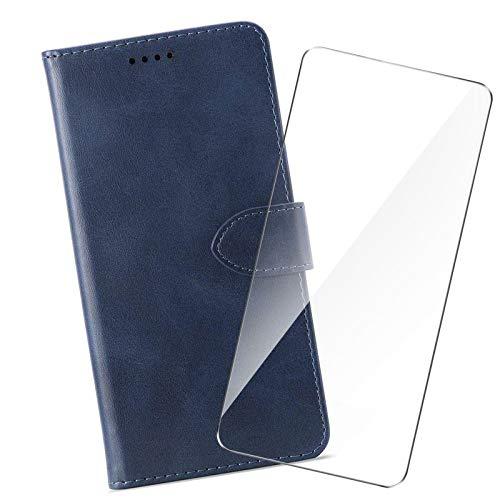 HYMY Hülle für ZTE Axon 11 4G + Schutzfolie - Blau Einfach Stil PU Leder Lederhülle Flip mit Brieftasche Geldbörse Card Slot Handyhülle Cover