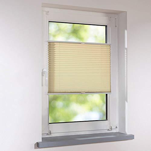 Plissee 110 x 130 cm creme verspannt Klemmfix ohne Bohren Faltrollo Raffrollo Sonnen- & Sichtschutz