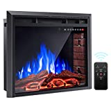 COSTWAY Electric Fireplace Insert 30-Inch Wide, 750W/1500W Wall Electric Heater Fireplace with Remote Control, 4 Flame Colors, 5 Brightness Settings, 8 H Timer, Embedded Fireplace for Indoor Use