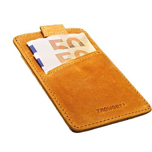 TROWORT® Tarjetero con Seguridad RFID Cartera Pequeña Fina para Hombre De Piel 2a Generación para Tarjetas De Crédito Delgada Minimalista