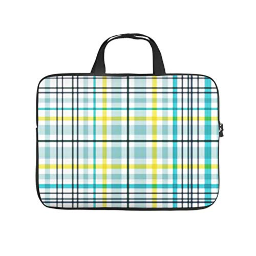 Yellow Blue Tartan Double Sided Printed Laptop Bag Protective Case Scratch Resistant Neoprene Laptop Sleeve Bag Personalised Notebook Sleeve Case Sizes Available