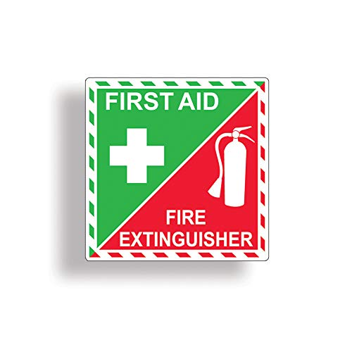 First Aid Kit/Fire Extinguisher Inside Sticker for Emergency Safety Box or Kit Rescue Alert 911 Decal