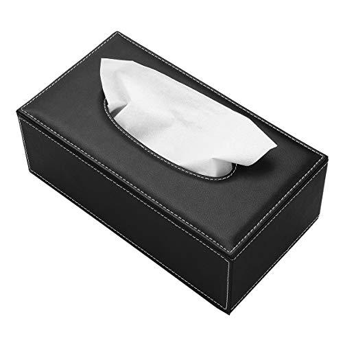Caja de pañuelos, Rectangular, para organizar servilletas, para el hogar, Oficina, decoración de Coche (Negro)