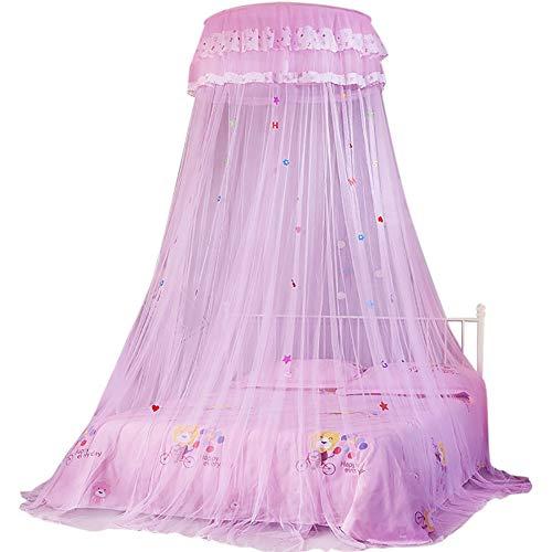 Princess Style Moskitonetz, Runder Baldachin-spitzenbett-vorhang, Dome Moskitonetz Bettvorhang Hängende Überdachung Bed Canopy Curtain Netting Für Kinderbett, Einfache Installation Hängen(Rosa)