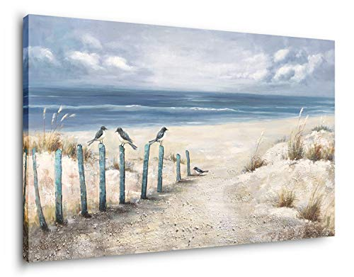 Yihui Arts Large Beach Wall Decor Hand Painted 3D Seascape Canvas Oil Painting Ocean Coastal Art Picture For Office Decor
