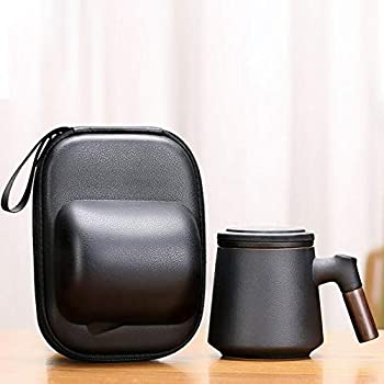 DORBOKER Tea Cup With Infuser And Lid Sandalwood Handle Tea Mug 13.5 Ounce Chinese Ceramic Tea Cups with Portable Travel Bag Carried Easily One Set For Office And Home Simple black