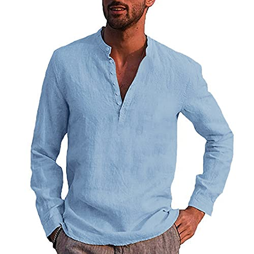 Dasongff Herren Hemd Herbst Winter Herren Langarm Sommerhemd Männer Regular Fit Freizeithemd Henley Shirt Einfarbig Langarmshirt T-Shirt Freizeithemden Strandhemd Businesshemd Men´s Shirt