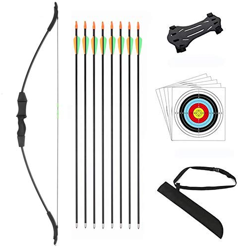 DOSTYLE Outdoor Youth Recurve Bow and Arrow Set with Quiver Junior Archery Beginner Longbow for Training Includes 8 Arrows, Arm Guard, Quiver,5 Target face