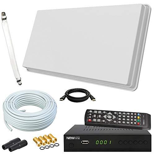 netshop 25 Selfsat H30D1+ Flachantenne Single + HD Receiver + 10m Kabel + Fensterhalterung + 1 Fensterdurchführung + 4 F-Stecker + 2 Wetterschutztüllen (Full HD 4K UHD Sat Anlage für 1 Teilnehmer)