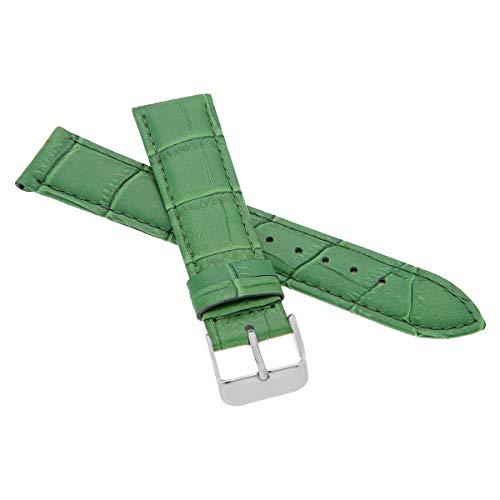 MARCHEL Croco LM-80 Lederarmband 20 mm Grün Krokoprägung Uhrenarmband Krokodilmuster Uhrband Rindsleder