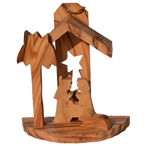 Olivenholz Krippe - Holz Weihnachtskrippe aus Olivenholz 6,5cm - handgefertigt in Bethlehem