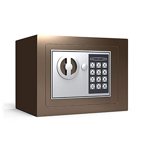 MAATCHH Caja Fuerte de Gabinete Seguridad de Acero Caja de Seguridad con Teclado for Office Hogar y joyería Hoteles Cash Passport Armas para el Negocio en casa (Color : Coffee, Size : 22x17x17cm)