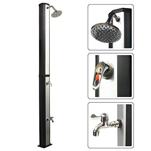 Viesta Solardusche 35l mit Fußdusche - UV-beständiger Wassertank mit Wasserhahn/Fußdusche und Regenduschkopf