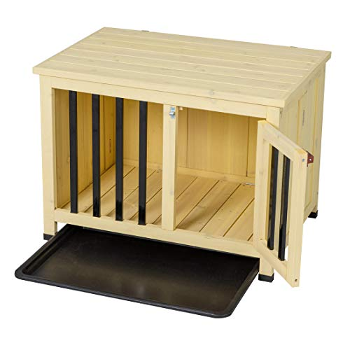 Good Life No Assembly Foldable Indoor Nature Wood Dog Crate Pet Cage Portable Cat/Dogs House Metal Railing with Tray (28' inch L)
