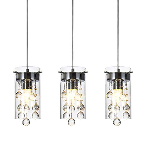 Loclgpm Modern Crystal Pendant Light, 3 Pack Metal Ceiling Lamp, Chrome Finish Chandelier Fixture with Clear Glass Shade Hanging for Kitchen Island, Living Room, Dining Room, Restaurant, Indoor