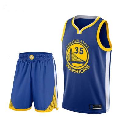 XZM Modelos Personalizados de Juegos de Ropa de Baloncesto para niños, Jerseys de Golden State Warriors Kevin Durant 35, Camisa de Chaleco de Baloncesto Juvenil para niños Ropa de Baloncesto-Blue-L