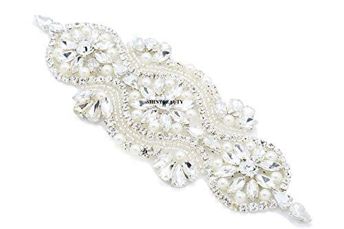 Cinturón de apliques de boda con diamantes de imitación de cristal para vestido de novia de diamantes de imitación cinturón de novia para mujer con cinta, Plata-002,