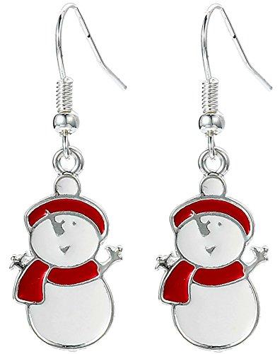 Happy Snowman, Hängeohrringe mit Geschenkbeutel für Damen und Mädchen, Weihnachtsschmuck