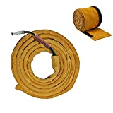 Holulo TIG Welding Torch Cable Cover Flame-Resistant Leather Kevlar Stitched,Yellow MIG/Plasma Cable Sleeves Tig Cover,137''