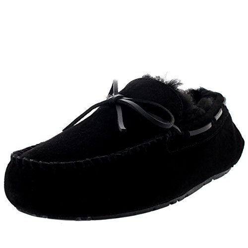 Heren Mocassin Real Suede Australian Genuine Loafer Slipper - Zwart - UK12 / EU46 - YC0448