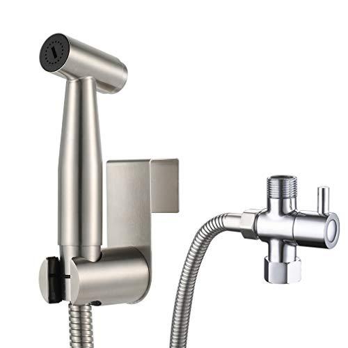 Synlyn Waschbeckenhandbrause 304 Edelstahl Bidet-Handbrause Set mit Brauseschlauch, Halterung WC Sprühpistolendüse Wasserspar Duschkopf -Ein Tastendruck