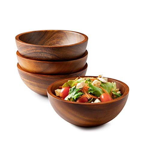 Acacia Wooden Salad Serving Bowls, Small Individual Bowl Set of 4, 7'x3' for Salads, Cereal, or Soup - Hand Made from a Single Organic Piece of Acacia Wood, Food Safe