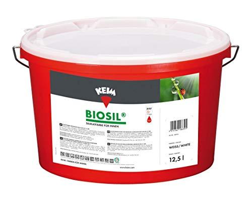Keim 1250 Biosil Wandfarbe Silikatfarbe innen Innensilikat-Farbe 12,5 Liter, Weiß
