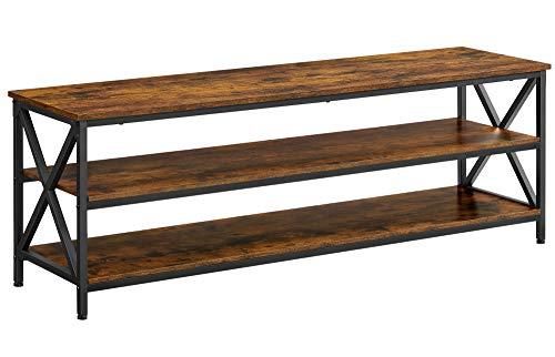 VASAGLE Mueble de TV, Mesa de TV, para televisores de hasta 65 Pulgadas, con estantes Abiertos, Marco de Acero en Forma de X, Diseño Industrial, 147 x 40 x 50 cm, Marrón Rústico y Negro LTV100B01