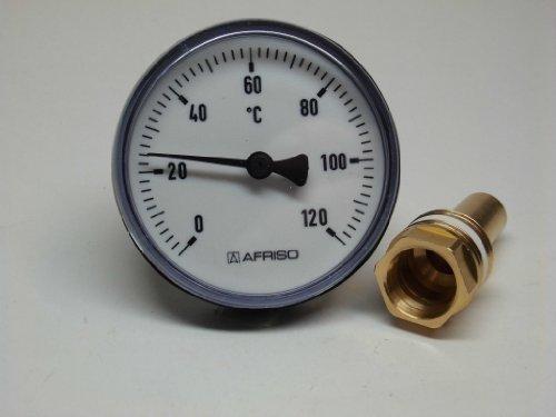 Afriso Bimetall Zeigerthermometer 0-120°C. 63 mm mit Kunststoffgehäuse