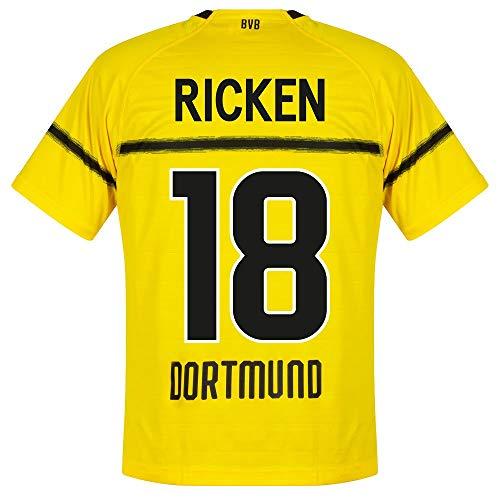 PUMA Borussia Dortmund Cup Ricken 18 Trikot 2019-2020 (Retro Fan Style Beflockung) - M