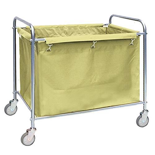 ZAQI Cesto Ropa Sucia Carro de lavandería de Acero Inoxidable con Ruedas de 4 Pulgadas, Hotel/hospitales/hogares de Ancianos Carro de cesto de lavandería Grande con Bolsa extraíble (Color : Beige)