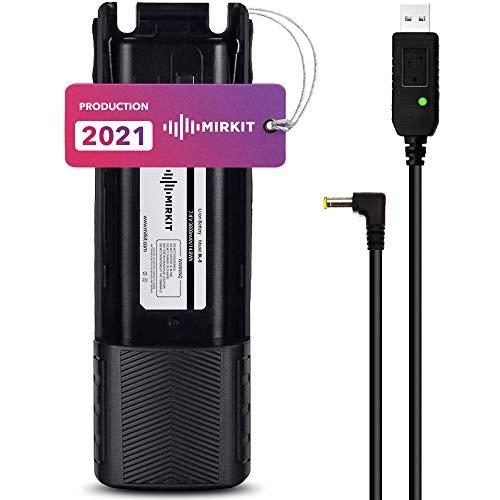 Mirkit Batería BL-8 – Cable de carga USB y batería Baofeng de 3800 mAh Li-Ion Baofeng – Accesorio Baofeng UV-82, UV-82HP, UV-82HPL, UV-82, UV-82C, UV-82X.