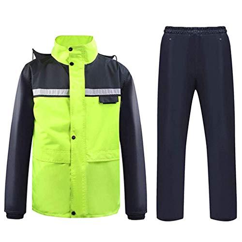 CHENGL Rain suit motorcycle rainwear rainsuit, visibility split type Riot rain windproof hooded raincoat, waterproof suit for men/women,Green,XL