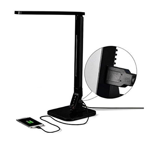 Klein Design® CV-100 lampe de bureau LED dimmable 11W Pliable, 530lm, 4 modes (Lecture, Étude, Relaxation et veille) et 5 niveaux de luminosité, avec port USB, lampe de bureau ou de chambre [Classe énergétique A +], de couleur noir